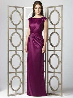 Cap sleeve full length renaissance satin dress with draped detail at bodice and skirt. Sizes available 00-30W, and 00-30W extra length.  http://www.dessy.com/dresses/bridesmaid/2854/