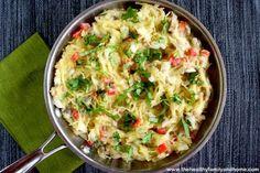 Spaghetti Squash with Basil and Creamy Cauliflower Afredo Sauce (Vegan, GF, Dairy-Free)