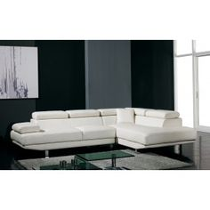 T60 Ultra Modern White Leather Sectional Sofa - Modern Sofas - Living Room $2600 real leather
