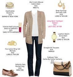 My weekly outfit - https://mystylit.com Tan Cardigan, Brown Oxfords, Tan/Black Tote, Gold Accessories