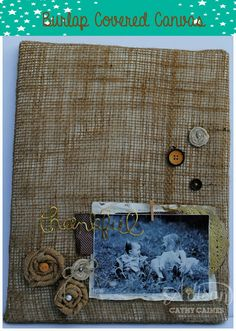 Artisan Wednesday Wow: Burlap covered canvas by Cathy Caines