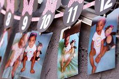 Adorable idea for baby party..pics of each year leading up the birthday or if a 1st birthday every month leading up to the birthday