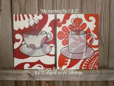 Your choice of My Morning Fix 1 or 2 original acrylic paintings on a 9 x 12 canvas panel (flat panel). With beautiful details and splashes of