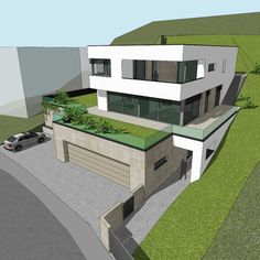Modern Architecture House, Modern House Design, Architecture Design, Houses On Slopes, Bungalow Floor Plans, Hillside House, Backyard Pool Designs, Home Design Plans, Facade House