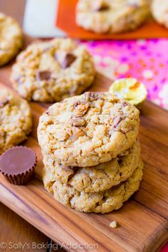 Peanut Butter Cup Oatmeal Cookies. These easy and quick cookies are incredibly chewy because of the melted butter, all the quick oats, and brown sugar. They are soft and loaded with peanut butter cups!