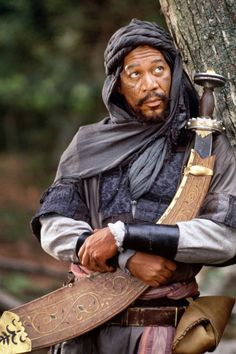 "Morgan Freeman as Azeem, a character from the film - ""Robin Hood: Prince of Thieves"". #RobinHood #KevenCostner #MorganFreeman"
