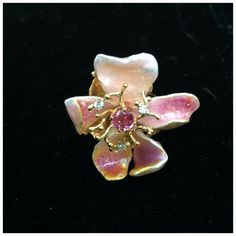 Kiln Fired Opalescent Pink Enamel Ring by Russell Trusso on Etsy, $900.00