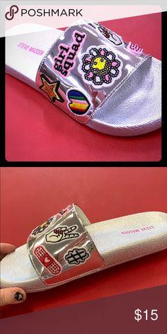 c59e218637c Steve Madden silver emoji kids slide sandals Never worn silver and emoji Steve  Madden slide on