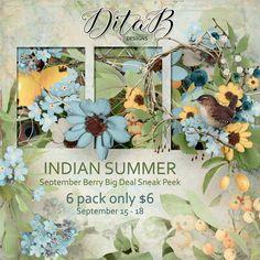 DitaB Designs: Hi everyone,September BBD Sneak Peek is here. My... Three Colors Blue, Indian Summer, Overlays, September, Floral, Flowers, Painting, Design, Art