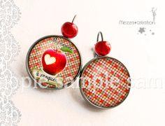 Boucles d'oreille ° Pomme Mignonne ° pois rouge verre rétro