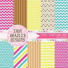 Coffee and Donuts Digital Paper Set Personal & Commercial Use Instant Download