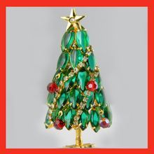 Vintage Christmas Tree Brooch with Cabochon & Crystal Dangles& Garland