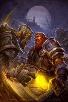 "About 6 years ago I had the opportunity to create a series of Comic Book covers for World of Warcraft; Ashbringer. Comic book illustration has always been a dream of mine, so this was one of those, ""drop everything and get on it."" kind of moments for me. Late in the game it was looking a little too digital, so I took some pictures of a gessoed canvas I had set up for another project and layered them into this image in a few key places. That and some chunky highlights with faked..."