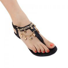 Stylish Chain and Flip-Flop Design Sandals For Women, BLACK, 39 in Sandals   DressLily.com