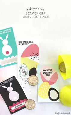 DIY scratch off Easter joke cards make a great non-candy Easter treat. They are super easy to make with cute free printables and scratch-off sticker paper!