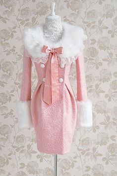 Sweet Pink Bowknot Detail White Fur Detail Coat - OASAP.com