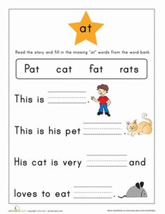First grade reading & writing worksheets: word family story: -at Preschool Learning Activities, Kindergarten Literacy, Reading Activities, Teaching Kids, Preschool Printables, Literacy Centers, First Grade Phonics, First Grade Reading, Phonics Worksheets