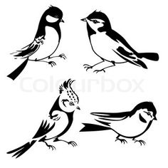Birds silhouette on white background, vector illustration Stock - Bird outline vector Kirigami, Bird Silhouette, Silhouette Portrait, Silhouette Images, Silhouette Vector, Stencil Patterns, Stencil Designs, Hahn Tattoo, Silhouettes