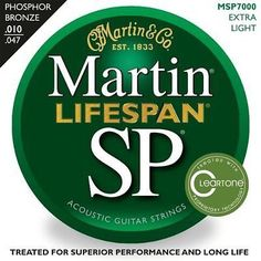 Martin Cleartone Coated 12 String Acoustic Guitar Strings MSP7600 10-47 Phosphor