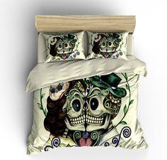 """Skull Bedding, Sugar Skull Duvet Cover Set, Skull Bedding Pillow Shams BEIGE CREAM """"Forever More """""""
