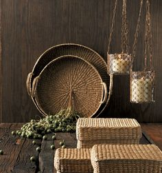 Marsh Round Grass Trays - would be beautiful in a log home