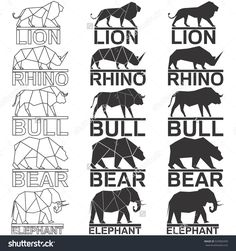 Animal logo set. Lion rhino rhinoceros bull bear elephant geometric lines silhouette isolated on white background vintage vector design element illustration set