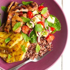 My Food Bag - Nadia Lim - Recipes - Mojito Chicken and Wild Rice Salad with Grilled Pineapple Cooked Pineapple, Pineapple Chicken, Gourmet Recipes, Cooking Recipes, Wild Rice Salad, Large Fries, Chicken And Wild Rice, Chicken Thigh Recipes, Mojito
