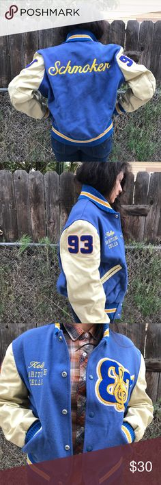 90's letterman wool jacket Like new condition vintage letterman jacket 100% wool with leather sleeves . Beautiful and matches with anything ! Vintage Jackets & Coats Utility Jackets