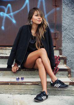 sporty chic :: bomber jacket + skirt + sneakers