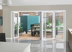 White aluminium bifold doors