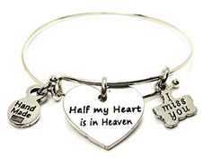Half My Heart Is In Heaven, I Miss You Single Stacker Bracelet ** You can find out more details at the link of the image.