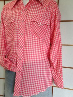 Sexy Vintage 70's Red Plaid Western Shirt Semi-Sheer Gingham Cowboy Shirt w/Pearl Snaps-40 by delilahsdeluxe on Etsy Vintage Western Wear, Vintage 70s, Western Outfits, Western Shirts, Leather Hats, Leather Jacket, Felt Cowboy Hats, Cowboys Shirt, Black Felt