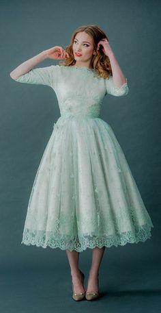 Mint tea length dress #retro #vintage #50s » So charming!