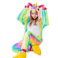 Cartoon Anime Unisex Adult Flano Cosplay Costume Rainbow Unicorn Onesie Pajama For Halloween Carnival Party (No Slipper) Popular Costumes, Costumes For Teens, Halloween Costumes For Kids, Children Costumes, Halloween Carnival, Onesie Costumes, Boy Costumes, Cosplay Costumes, Costume Ideas