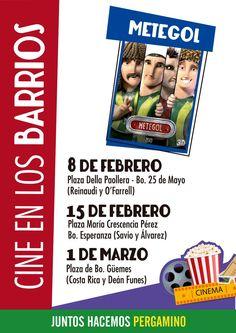 Cine #gratuito en los barrios de #Pergamino!  Se proyectará METEGOL, una hermosa película para toda la familia!