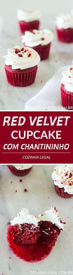 Aprenda a fazer esses fáceis, úmidos e macios Cupcakes Red Velvet caseiros com cobertura de chantininho   cozinhalegal.com.br