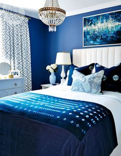 blue and white bedroom glam