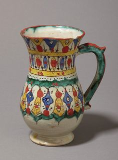 tin glazed earthenware jug, with blobs of unfired red pigment.  Fez, ca. 1870