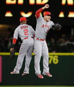 TODAY IS THE DAY!!!  OUR BOYS ARE FINALLY HOME! WELCOME BACK 2014 AMERICAN LEAGUE WEST DIVISION CHAMPS AND THE TEAM THAT HAD THE BEST REGULAR SEASON RECORD ON ALL OF BASEBALL. OH, AND WELCOME HOME TO OUR MVP #27 MR. TROUTSTANDING HIMSELF--MIKE TROUT.