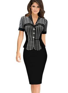 online shopping for Merope J Houndstooth-Print Sleeve Business Dress For Women from top store. See new offer for Merope J Houndstooth-Print Sleeve Business Dress For Women Business Casual Dresses, Business Attire, Dress Casual, Dress Formal, Formal Wear, Body Con Dress, Black Pencil Dress, Dress Black, Pencil Dresses