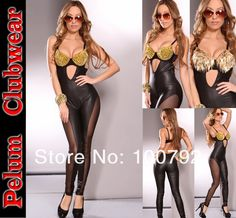 bd71bff2605 Aliexpress.com   Buy Black Gold Spiked Bra top Faux Leather wet look insert  Mesh jumpsuit bodysuit catsuit Sexy Outfit from Reliable Metallic catsuit  ...