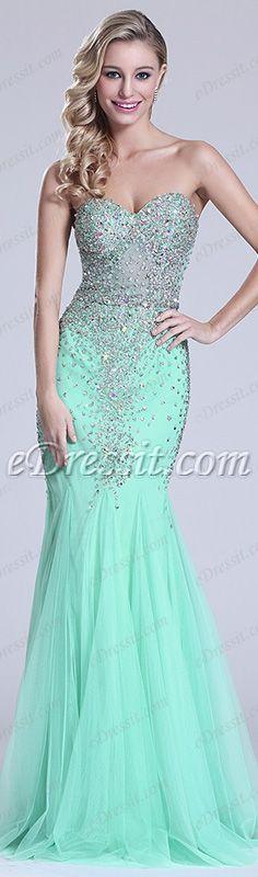 eDressit Strapless Sweetheart Beaded Green Prom Dress Evening Gown Blining-blining Dress
