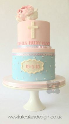 #pinkandbluecake #christeningcake www.fatcakesdesign.co.uk