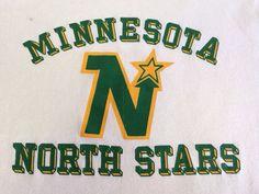 NORTH STARS 70s MINNESOTA Jersey T-shirt/ Rare Vintage Stitch Embellished Soft Shirt / NhL Hockey Jersey Style Tshirt Size Large $95.00