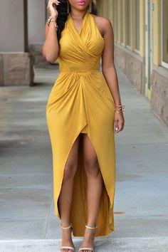 Sexy Halter manches évider robe de haute femmes à faible Hem