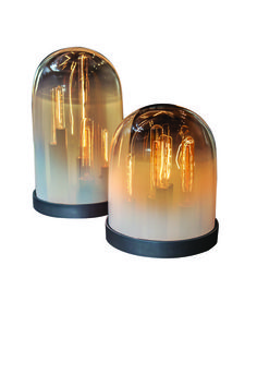 """LUMENARIUM  Hand-blown glass cloches, metal base finished in oil rubbed bronze  Dimensions""""High"""": 16.75"""" x 10.25""""; """"Low"""": 11.25"""" x 10.25"""""""