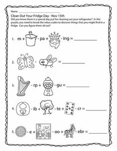 Rebus puzzles for Clean Out Your Fridge Day! Rebus Puzzles, Logic Puzzles, Word Puzzles, Puzzles For Kids, Printable Puzzles, Free Printable Worksheets, Free Printables, Writing Worksheets, Worksheets For Kids