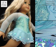 """We made this stunning Ice Princess skating dress for our American Girl doll using Lee & Pearl Pattern 1055: Skating Dresses for 18"""" Dolls — and the LIMITED EDITION Ice Princess Skate & Swim Stretch Fabric and Sparkling Trim Kit. Lee & Pearl patterns and fabric and trim kits are available in our Etsy store at https://www.etsy.com/shop/leeandpearl"""