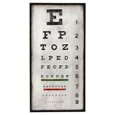 Check out this item at One Kings Lane! Eye Chart Wall Art, White
