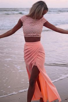 coral maxi skirt and top. Summer beach wear women fashion clothing style apparel @roressclothes closet ideas